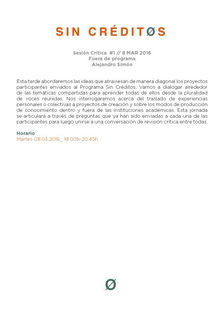 Sesion critica #1 Fuera de Programa - Alejandro Simon